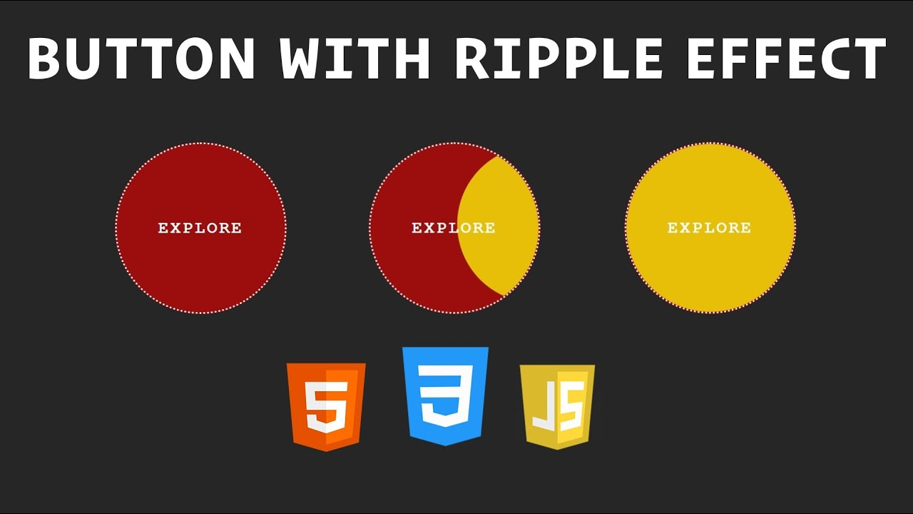 Button with Ripple Effect using HTML, CSS, and JavaScript / Hover Effect with HTML, CSS, JavaScript