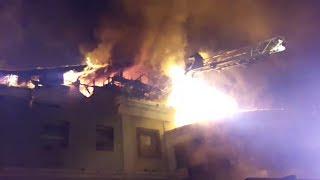 Начало пожара в кафе на Герцена