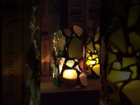 Sea Stained Glass Cylinder Candle Holders