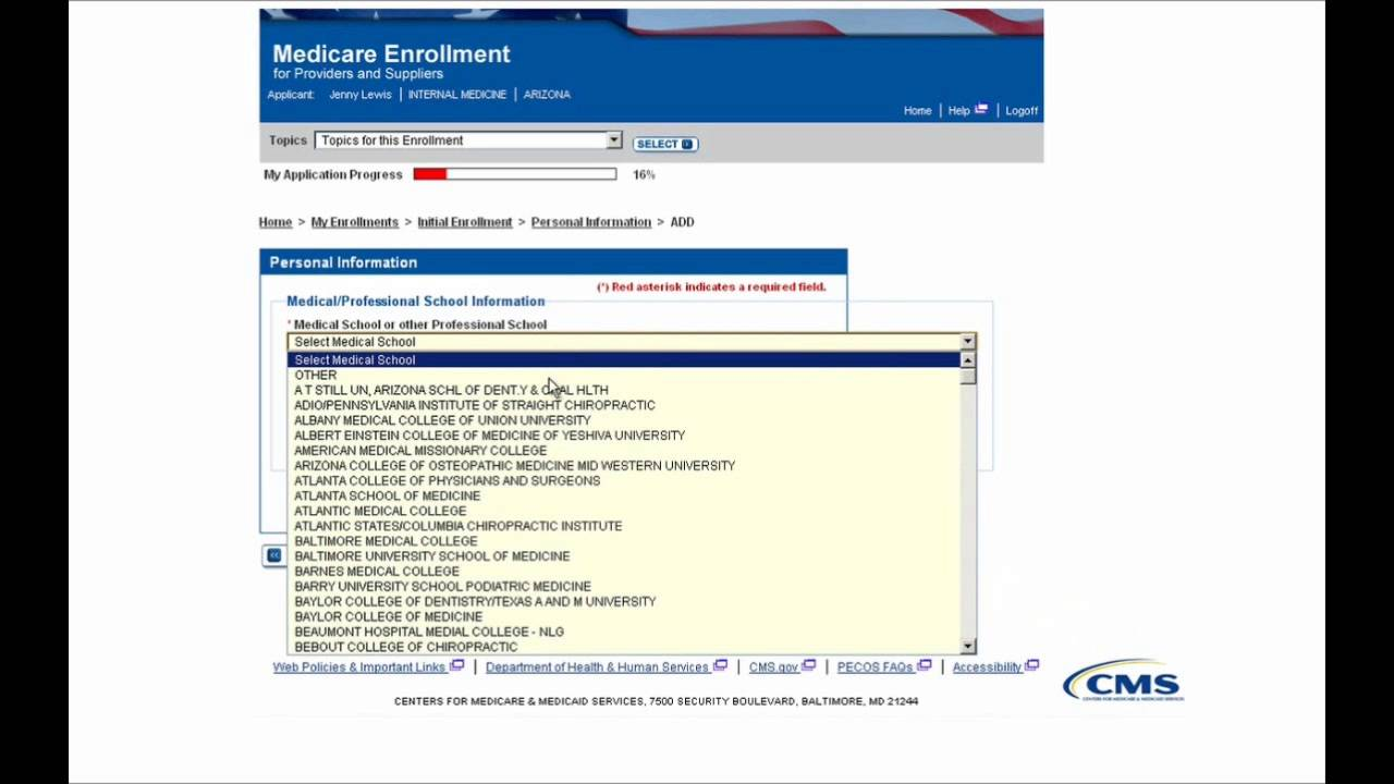 PECOS Enrollment Tutorial – Initial Enrollment for an Individual Provider