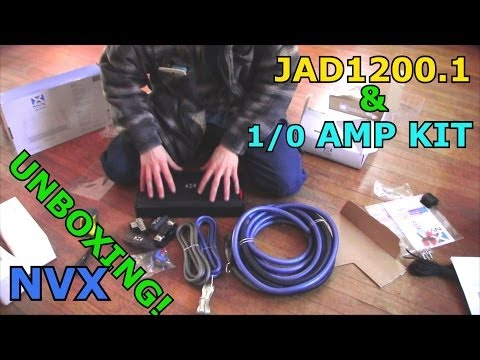 NVX JAD1200.1 Bass Amp & 1/0 Gauge XAPK1d Amplifier Wiring Kit UNBOXING / Pure Copper Wire
