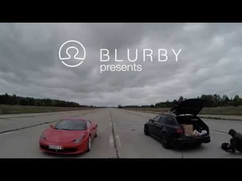 Ferrari 458 Italia vs 2015 Audi RS6 1/4 mile Drag Race | Blurby