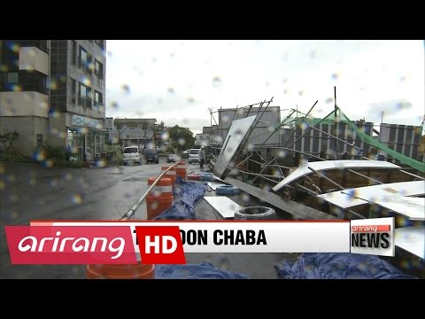 ARIRANG NEWS BREAK 20:00 Typhoon Chaba strikes southern Korea, before moving to East Sea