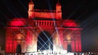 Amazing light show at Gateway of India 24th Jan 2014 - Mumbai, India - Part 6