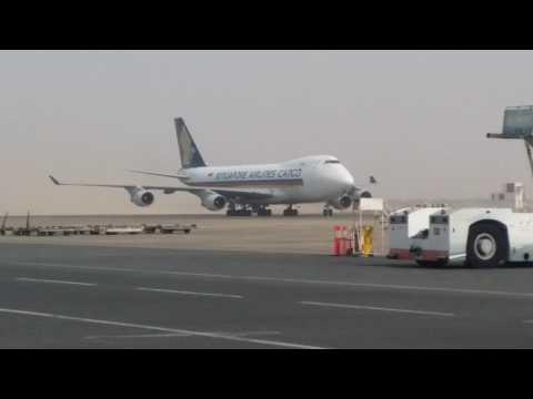 Singapore Airlines cargo flight in sharjah international airport