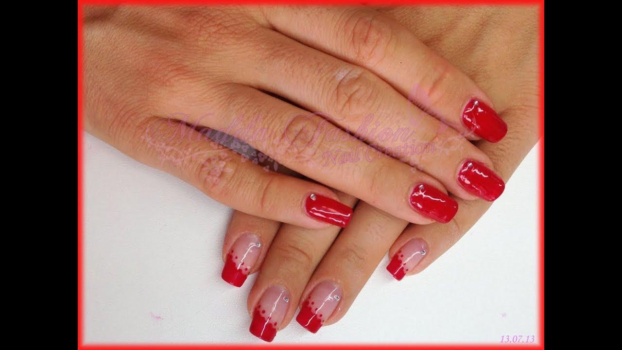 Popolare Nail Art - french rosso obliquo con pois e strass || Madda.fashion  MM29