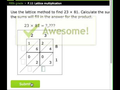 IXL Grade 5 F 11 Lattice Multiplication - YouTube