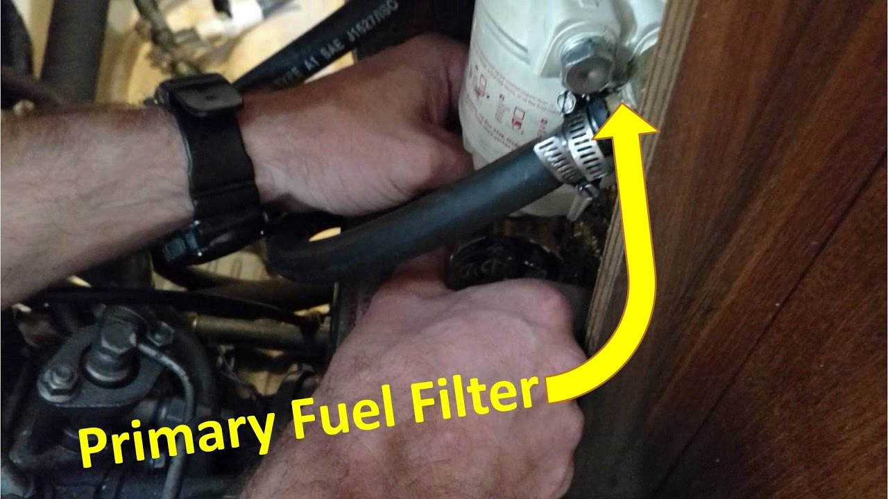 how to change oil and fuel filter for yanmar 2gm20f engine on a sailboat [ 1280 x 720 Pixel ]