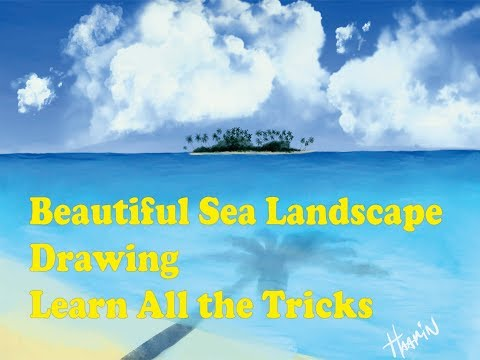 Drawing Tutorial Sea landscape – Digital Painting using ipad pro procreate (L Version)