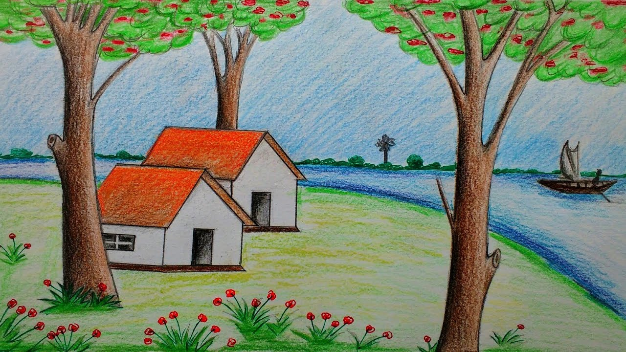 How to draw Beautiful Scenery with Colour Pencils - YouTube