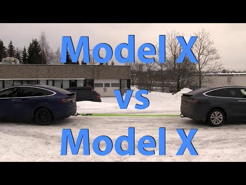 Tesla Model X P90DL vs 90D tug of war