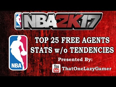 NBA 2K17 NBA Top 25 Free Agents Roster stats w/o tendencies