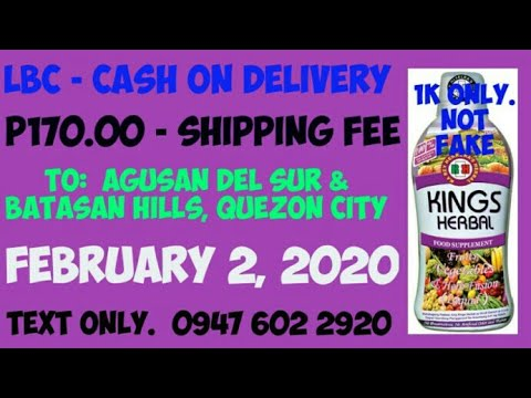 Nagpa-COD ng Kings Herbal Food Supplement sa Agusan at Quezon City, February 2, 2020. Salamat po.