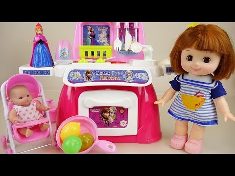 Thumbnail: Baby doll and Frozen kitchen toys play-doh cooking play