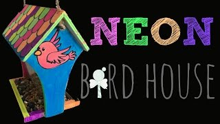 Paint Wooden Bird Feeder with Neon Acrylic Paint
