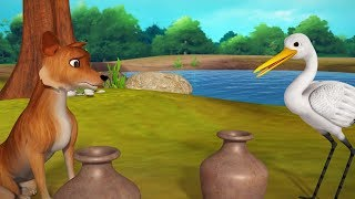 The Fox and the Crane Story | Animal Stories for Kids | Infobells