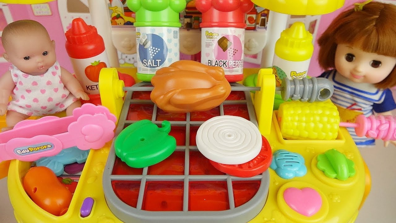 Hamburger Cooking And Baby Doll Kitchen Play House Youtube