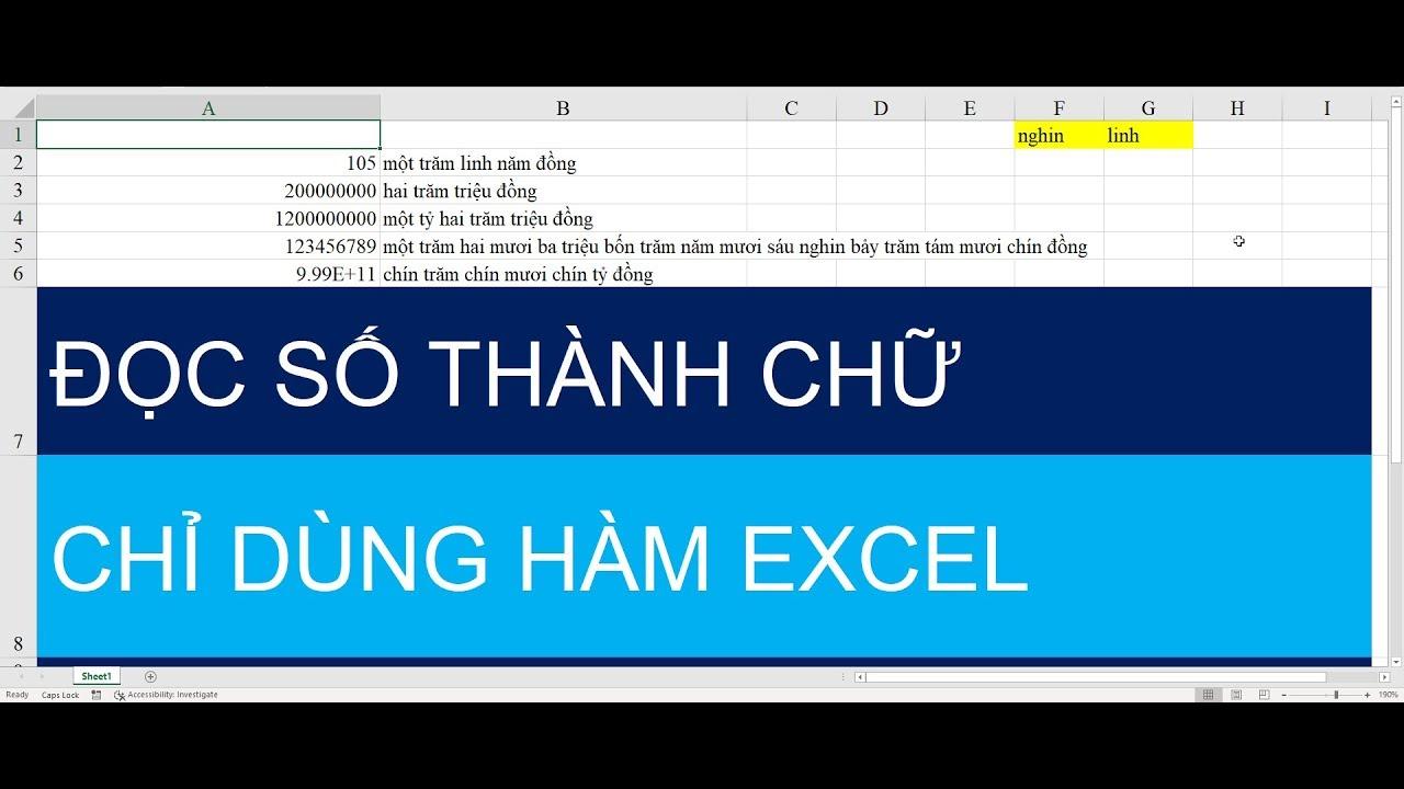 Cách đọc số tiền thành chữ chỉ dùng hàm Excel không dùng VBA, Addins