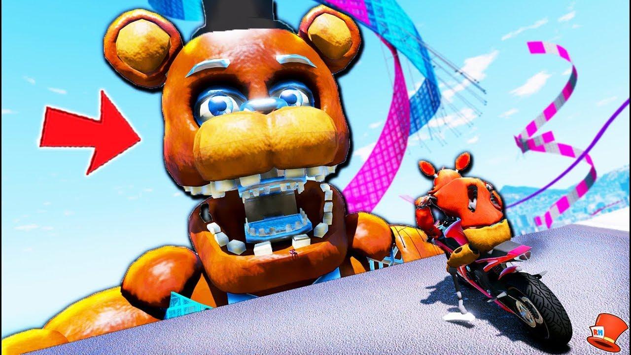 Foxy's Giant 10,000 Foot Freddy's Animatronic BMX Deathrun Trick Stunt!  (GTA 5 Mods FNAF RedHatter)