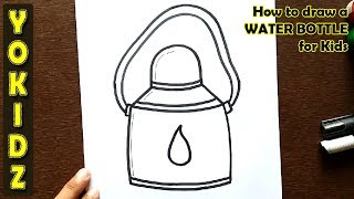 How to draw a WATER BOTTLE for kids