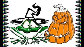 How to draw a frog and pumpkin Halloween - Drawing and Coloring for kids - be yeu
