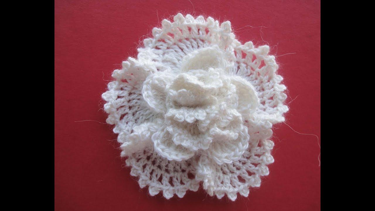 объёмный цветок крючком схема