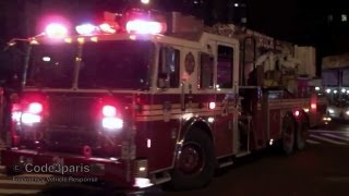 FDNY Engine 65 + Tower Ladder 21 Arriving at Fire Scene