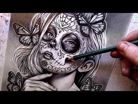 Watch Me Draw Sugar Skull Girl Pencil Portrait Youtube