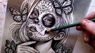 Watch Me Draw | Sugar Skull Girl Pencil Portrait