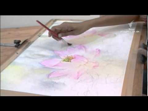 สอนศิลป์ สีน้ำ การวาดดอกบัว