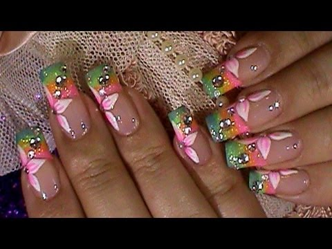 spring bling flower colorful nails