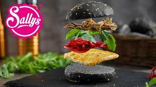 Halloween Burger – veggie Burger mit schwarzen Burger Buns