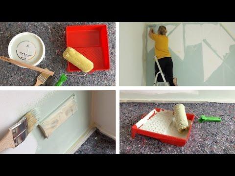 Wände streichen: Nähzimmer, Schlafzimmer, Küche und Wohnzimmer