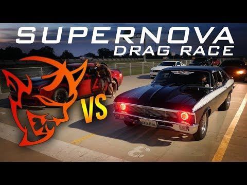 SUPERNOVA! Dodge Demon Vs NITROUS Chevy Nova DRAG RACE   Demonology