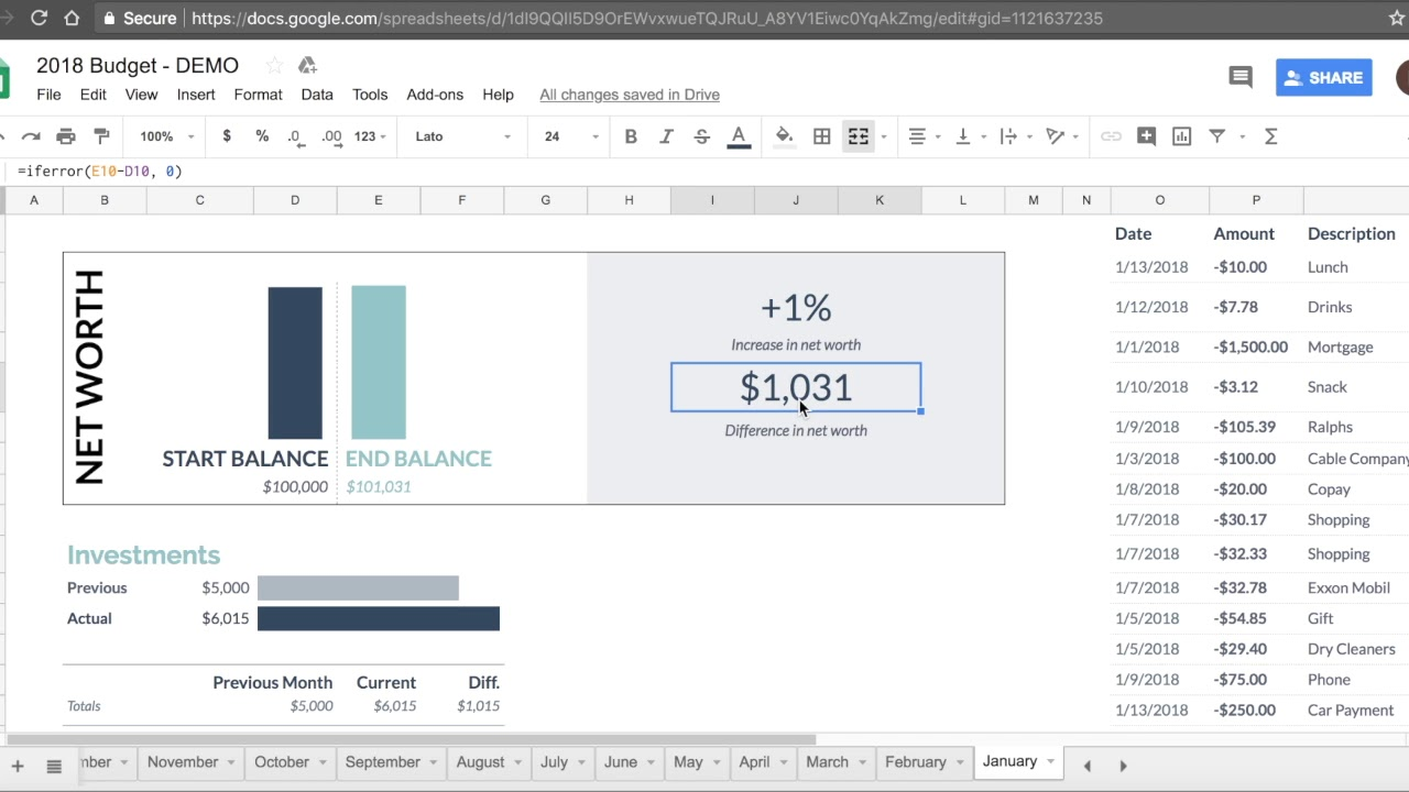 Google Spreadsheet 2019 Budget Template Tutorial Free Download