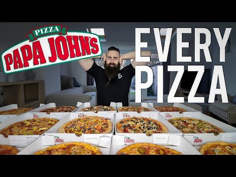 One Man Vs. EVERY Papa John's Pizza | BeardMeatsFood