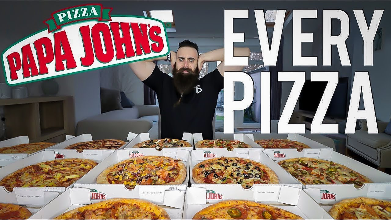 One Man Vs. EVERY Papa John's Pizza | BeardMeatsFood