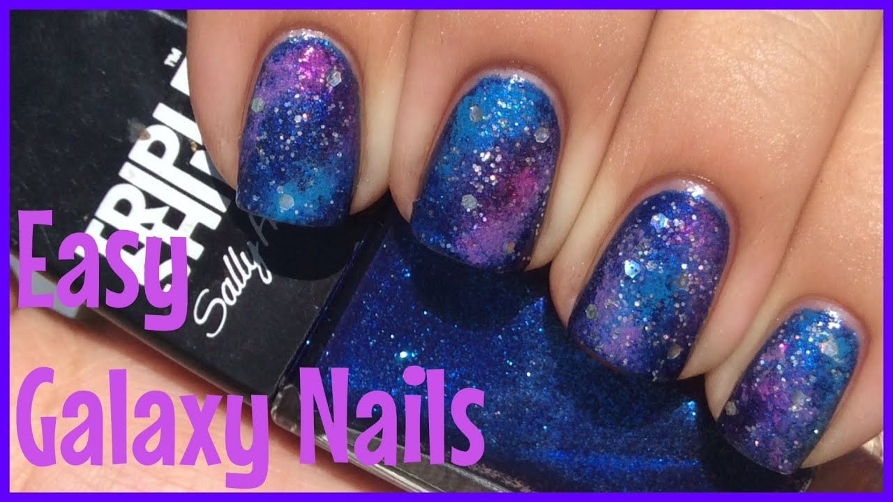 Easy Galaxy Nail Art Tutorial - YouTube
