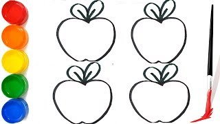 Drawing and coloring for Apple for kids   How to draw four Colors apples for children   Learn Colors