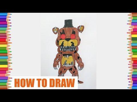How To Draw Nightmare Freddy, FNAF, Как нарисовать Кошмарного Фредди, ФНАФ