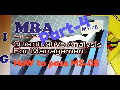 MS-08 IGNOU Part-4 For Block-1 Quantitative Analysis For Management