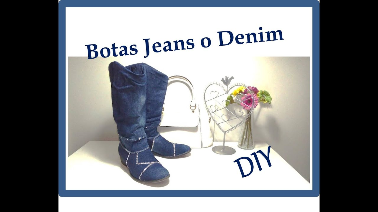 Diy como forrar zapatos o botas con tela jeans o denim - Como forrar muebles con tela ...