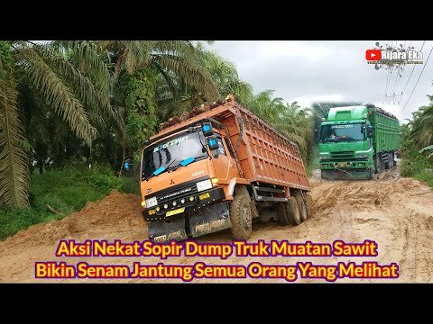 Aksi Nekat Sopir Dump Truk Besar & Tinggi Bikin Senam Jantung Semua Orang Yang Melihat