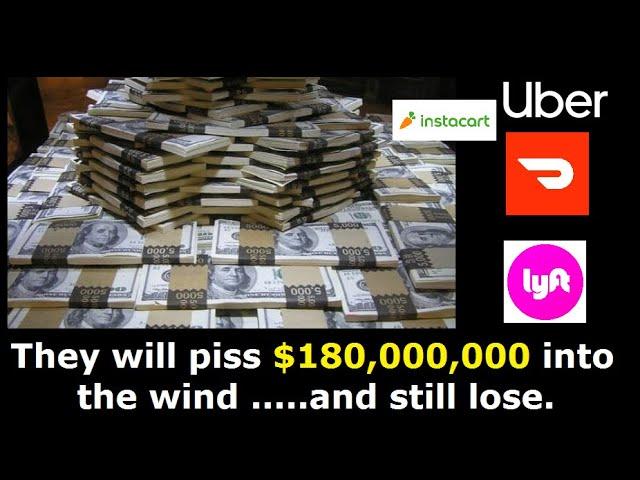 The costliest campaign in HISTORY.  Prop. 22. Uber, Lyft, Doordash, Instacart spent  $180,000,000+