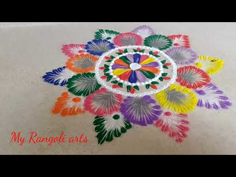 Simple rangolis for festivals with spoon| Satisfying sand art video-Rangoli designs and colors|