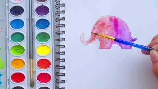 Como hacer elefante facil con acuarelas y mandala | how to draw easy elephant with watercolor | shan
