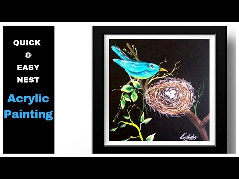 Simple Acrylic Painting - Quick and Easy Bird / Nest Painting - DIY