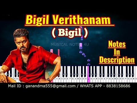 Bigil Verithanam demo Piano notes   #Bigil   # AR Rahman   Tutorial   keyboard   sheet music   cover thumbnail