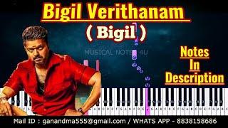 Bigil Verithanam  Piano notes promo song | #Bigil | # AR Rahman | Tutorial | keyboard | cover
