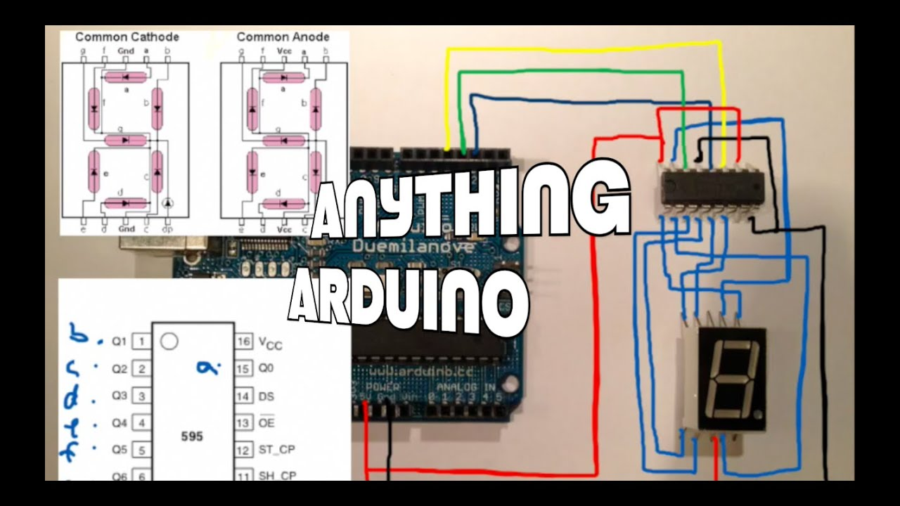 Using A 74hc595 To Connect An Arduino 7 Segment Led Display Circuit Diagram With Decoder And Shift Register Anything Episode 9
